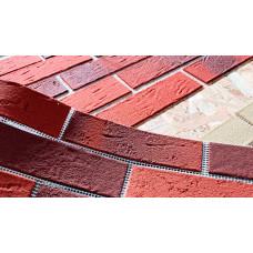 Гибкий  камень в виде кирпичной плитки на сетке для упрощённого монтажа на фасад